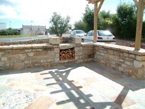 terrasse + mur pierre